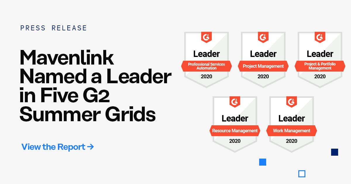 Mavenlink Named a Leader in Five G2 Summer Grids