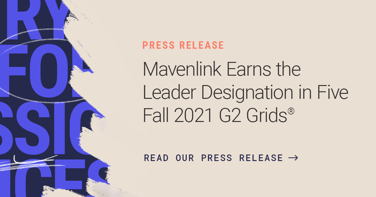 Mavenlink Designated a Leader in Five G2 Fall Grids